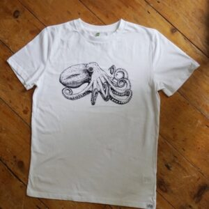 Curled Octopus White T-Shirt