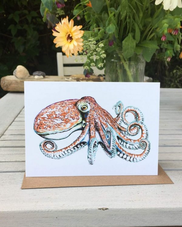 Curled Octopus Art Cards