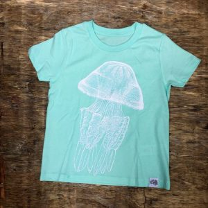 children's barrel jellyfish t-shirt Caribbean blue