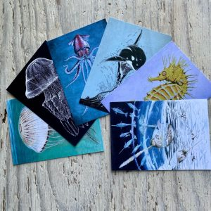 set of six art postcards